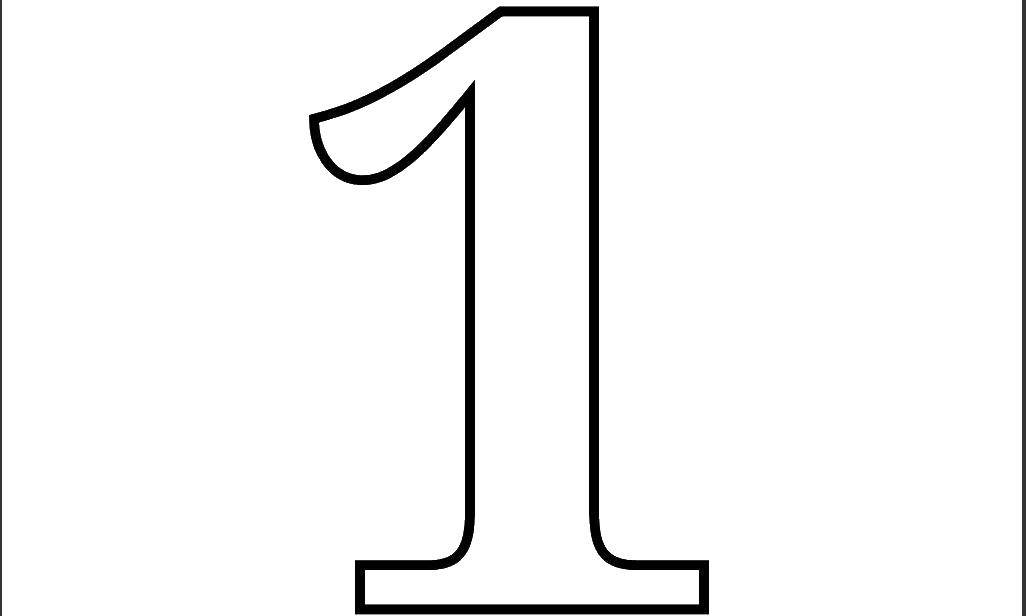 Раскраска Контур цифры 1 Скачать цифра, один.  Распечатать ,Цифры,