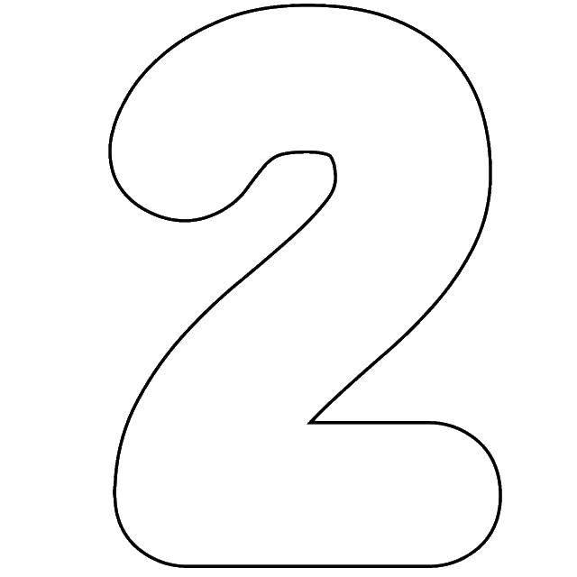 Раскраска Контур цифры 2 Скачать контур, цифры, два.  Распечатать ,Цифры,
