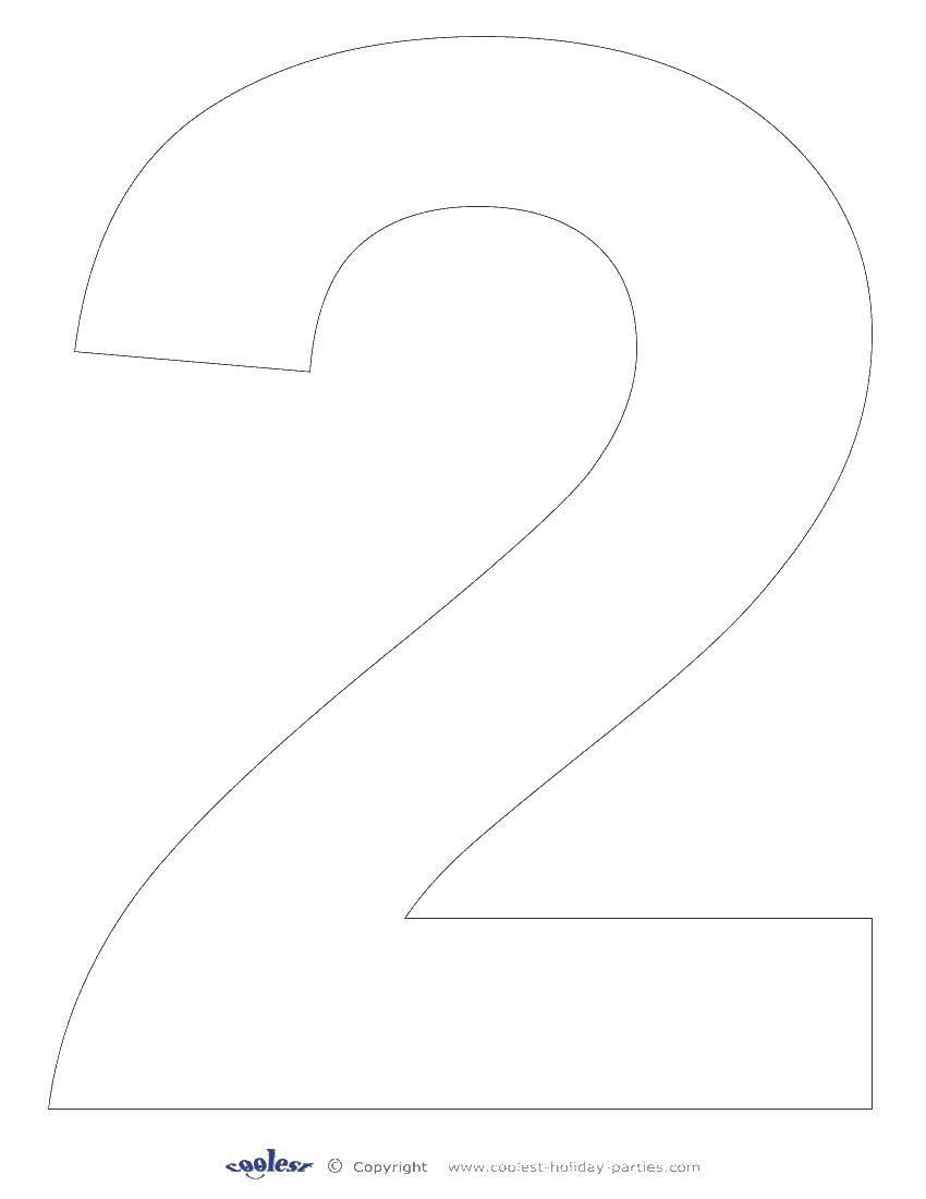 Раскраска Контур цифры два. Скачать контур, цифры, два.  Распечатать ,Цифры,