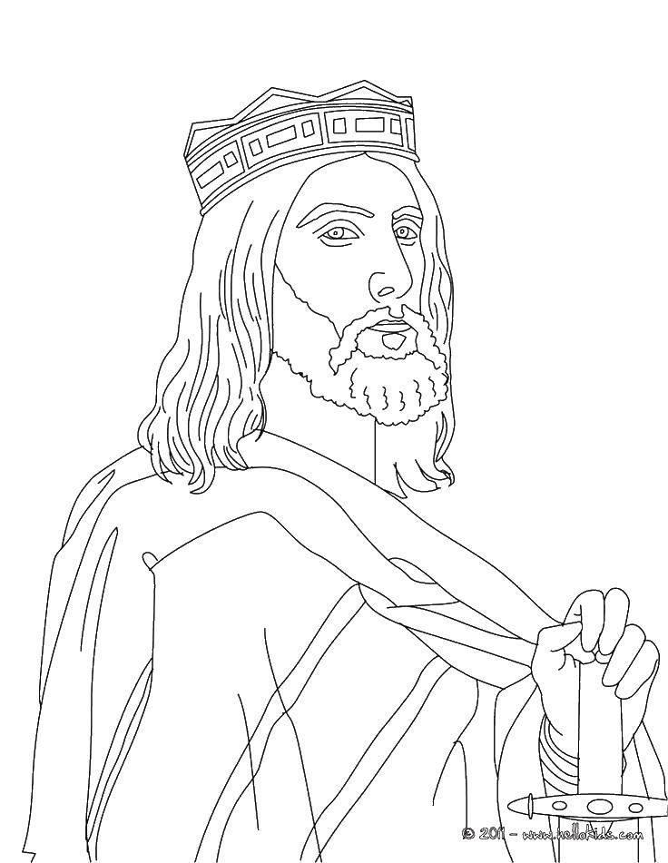 Раскраска Король с мечом Скачать король, меч, корона.  Распечатать ,Король,