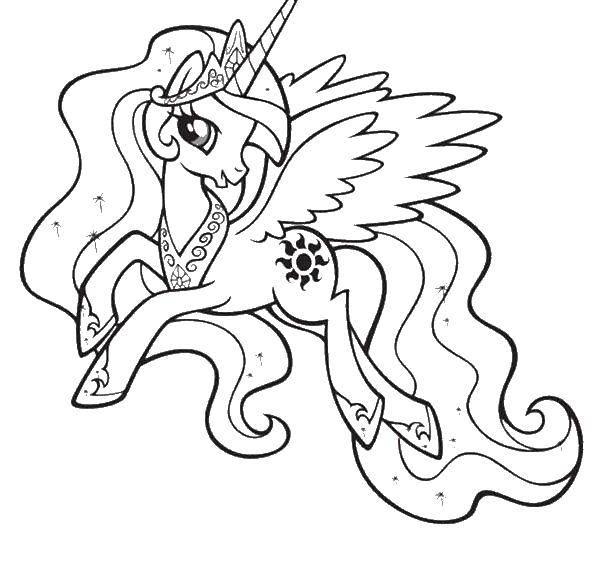Раскраска Крылатый единорог и корона Скачать единорог, крылья, хвост.  Распечатать ,мой маленький пони,