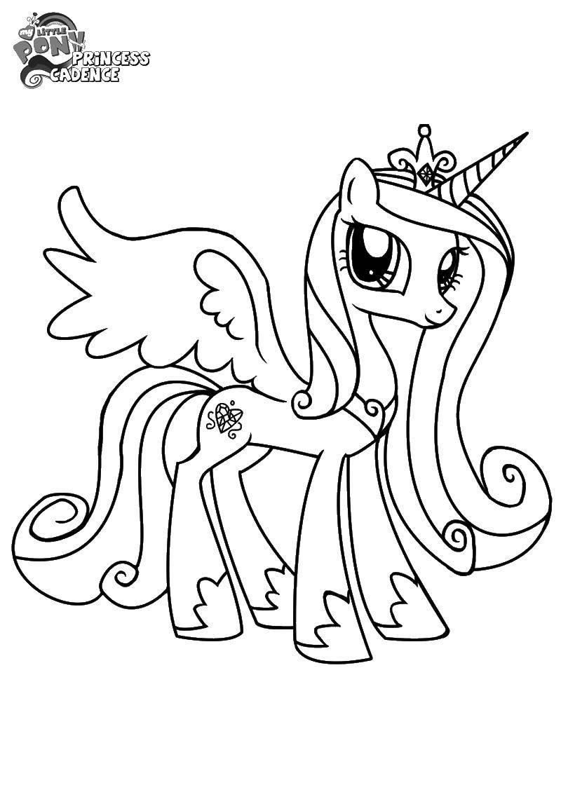 Раскраска Крылатый единорог с короной Скачать единорог, крылья, хвост.  Распечатать ,мой маленький пони,