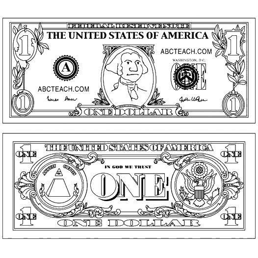Раскраска Купюра в один доллар Скачать ,купюра, доллар, президент,.  Распечатать