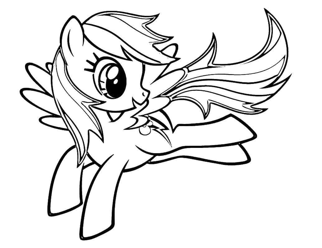Раскраска Летающий пони. Скачать пони, крылья, хвост.  Распечатать ,мой маленький пони,