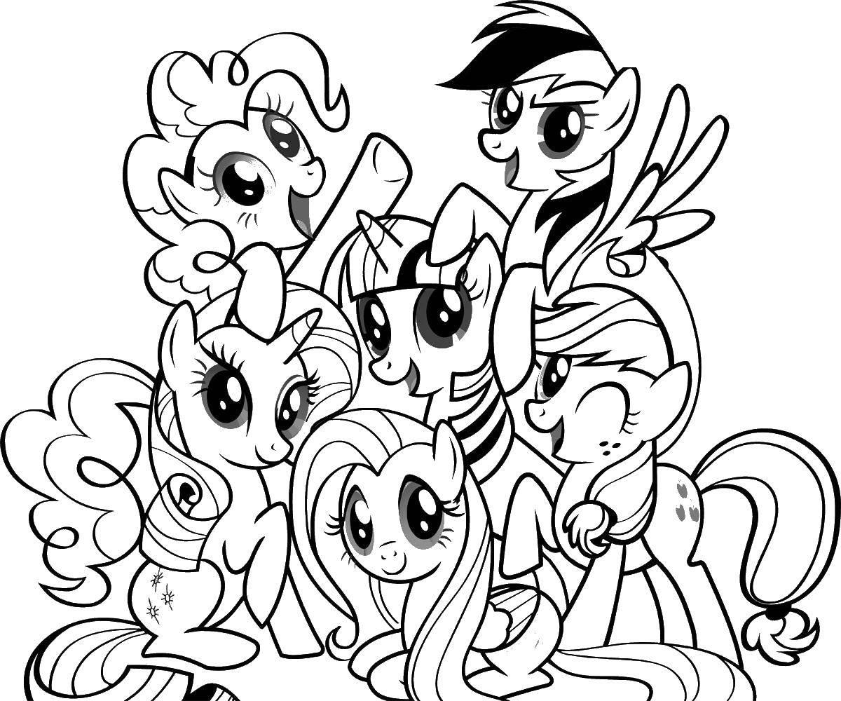 Раскраска Маленькие пони. Скачать мой маленький пони, мультфильмы, пони.  Распечатать ,мой маленький пони,