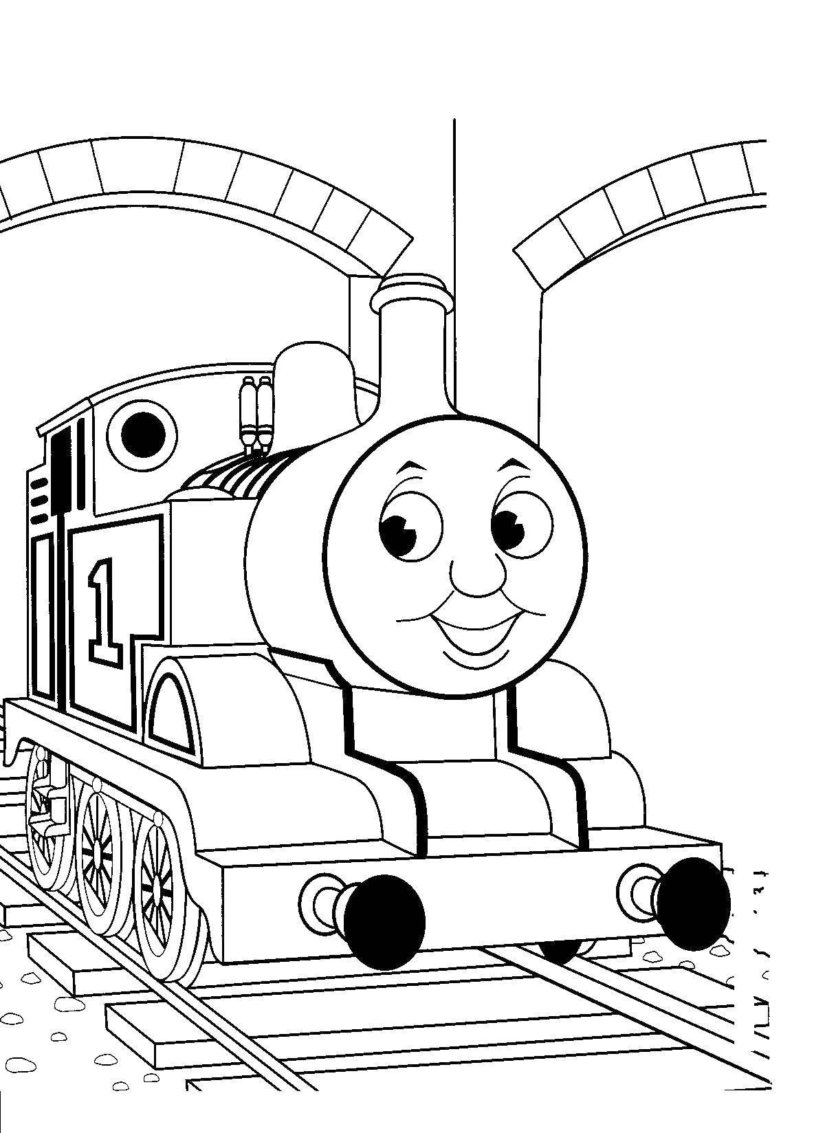 Раскраска Паровозик томас Скачать Томас, паровоз.  Распечатать ,поезд,