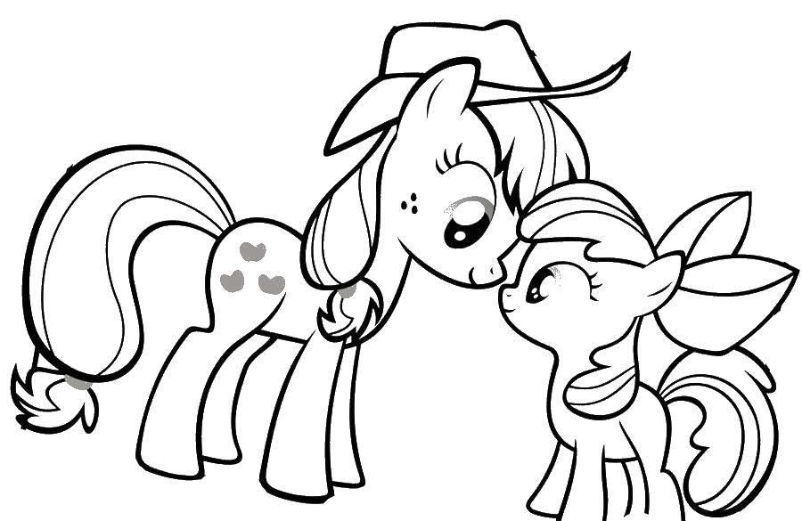 Раскраска Пони в шляпе и пони с бантиком. Скачать пони, шляпа, бантик.  Распечатать ,мой маленький пони,