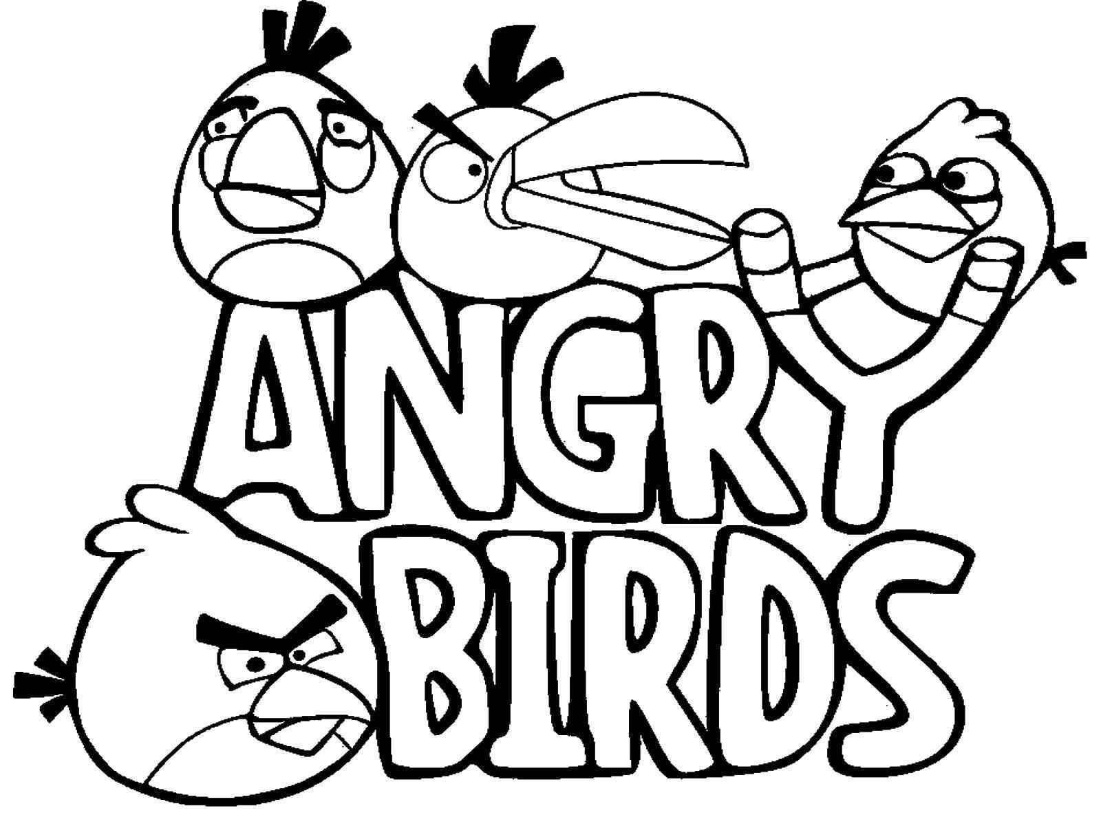 Раскраска Птички из игры Скачать игры, энгри бердс.  Распечатать ,мультфильмы,
