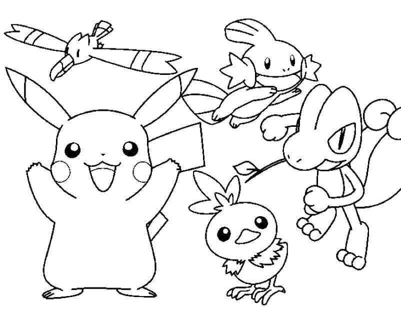 Раскраска Разные покемоны Скачать покемоны, покемон, мультфильмы.  Распечатать ,Покемоны,