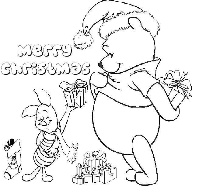 Раскраска Рождество Скачать рождество, Винни пух, пяточек.  Распечатать ,Рождество,