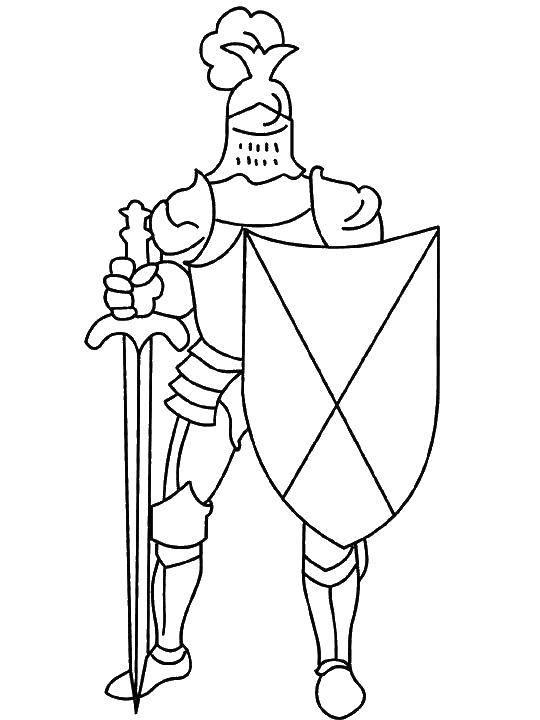 Раскраска Рыцарь с мечом и щитом Скачать рыцарь, шлем, меч, щит.  Распечатать ,Рыцари,