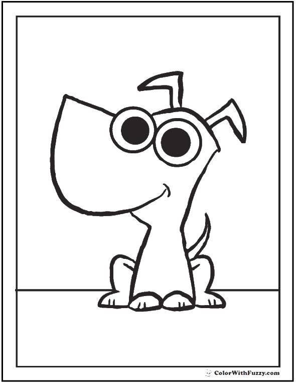 Раскраска Щеночек и глазки. Скачать щенок, глаза, хвост.  Распечатать ,Собака,