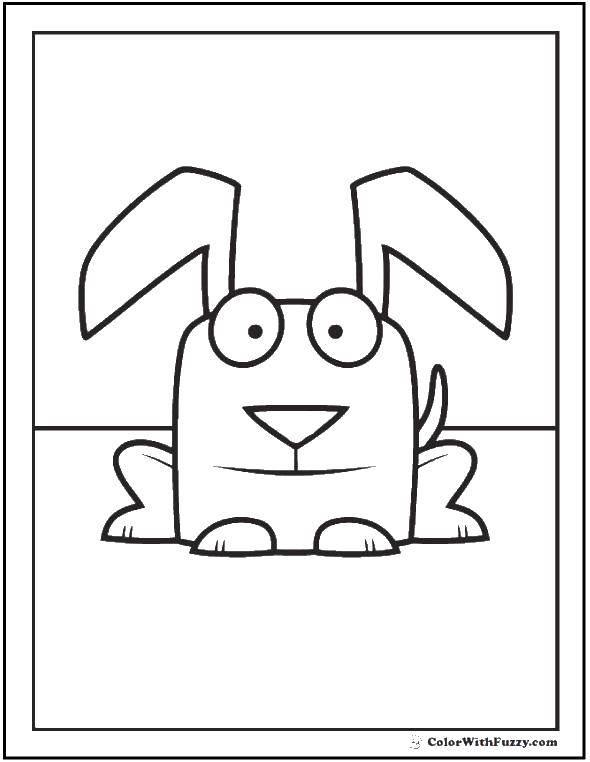Раскраска Щеночек с ушками. Скачать щенок, ушки, хвост.  Распечатать ,Собака,