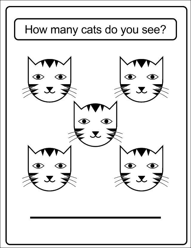 Раскраска Сколько кошек ты видишь?. Скачать счет, цифры, кошки.  Распечатать ,Учимся считать,
