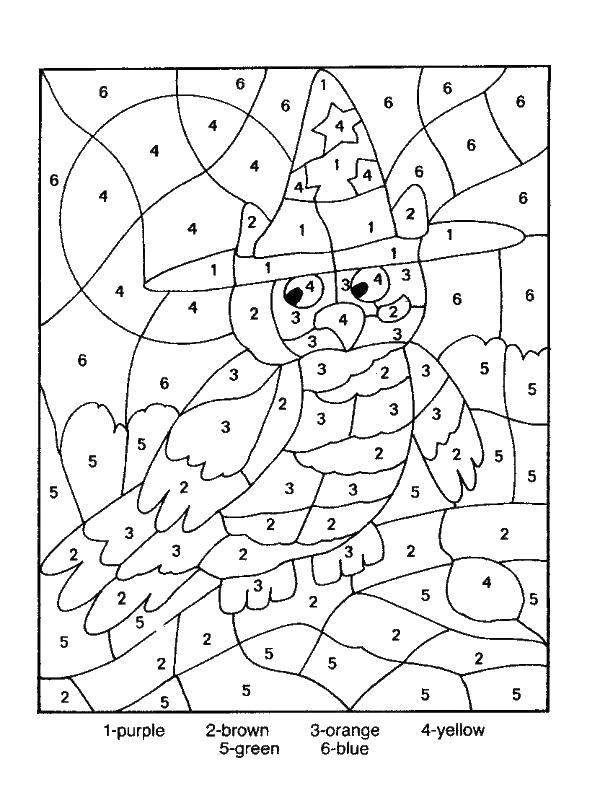 Раскраска Сова в шляпе Скачать сова, шляпа, луна.  Распечатать ,По номерам,