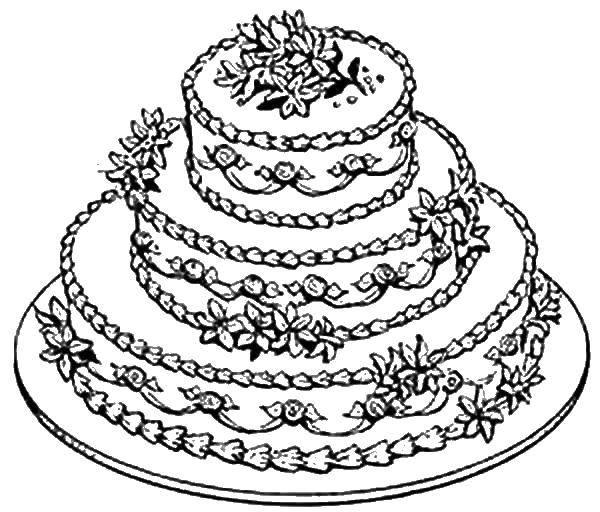 Раскраска Трехъярусный торт на тарелке Скачать торт, тарелка, цветы.  Распечатать ,торты,