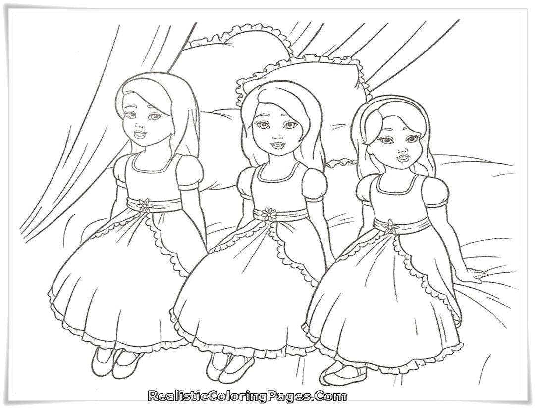 Раскраска Три маленькие принцессы. Скачать Принцесса, платье.  Распечатать ,принцесса,