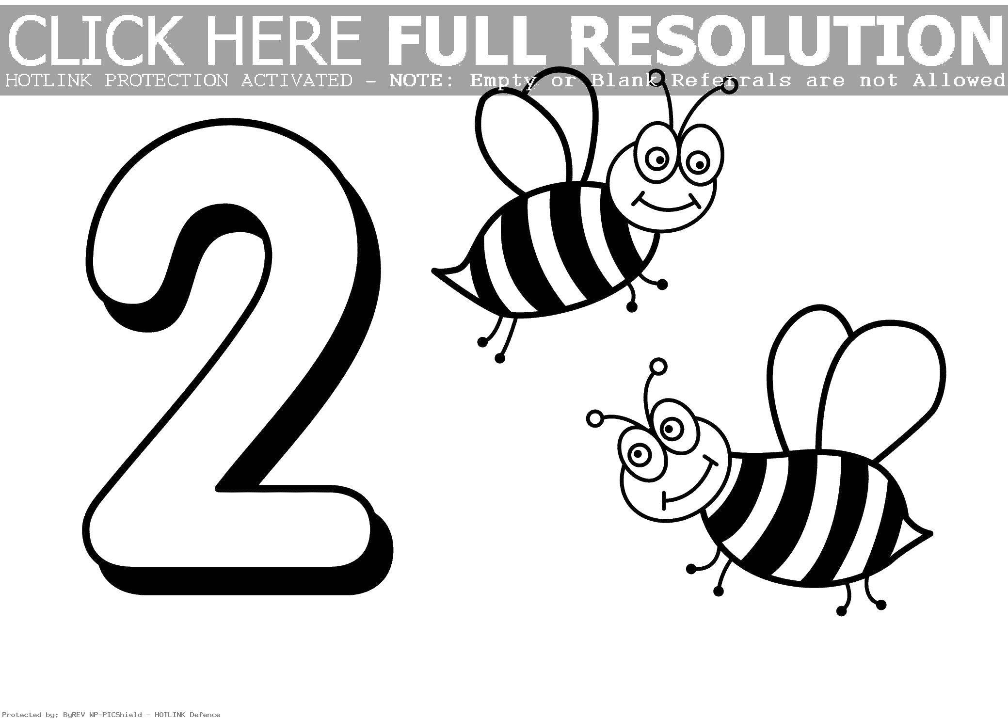 Раскраска Цифра два и пчелки. Скачать цифры, пчелки.  Распечатать ,Цифры,