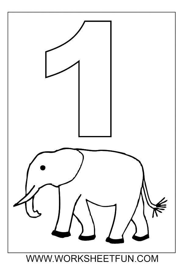 Раскраска Цифра один и слон. Скачать цифра, слон.  Распечатать ,Цифры,