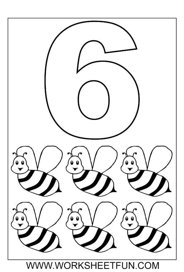 Раскраска Цифра шесть и пчелки. Скачать цифра, пчелки.  Распечатать ,Цифры,