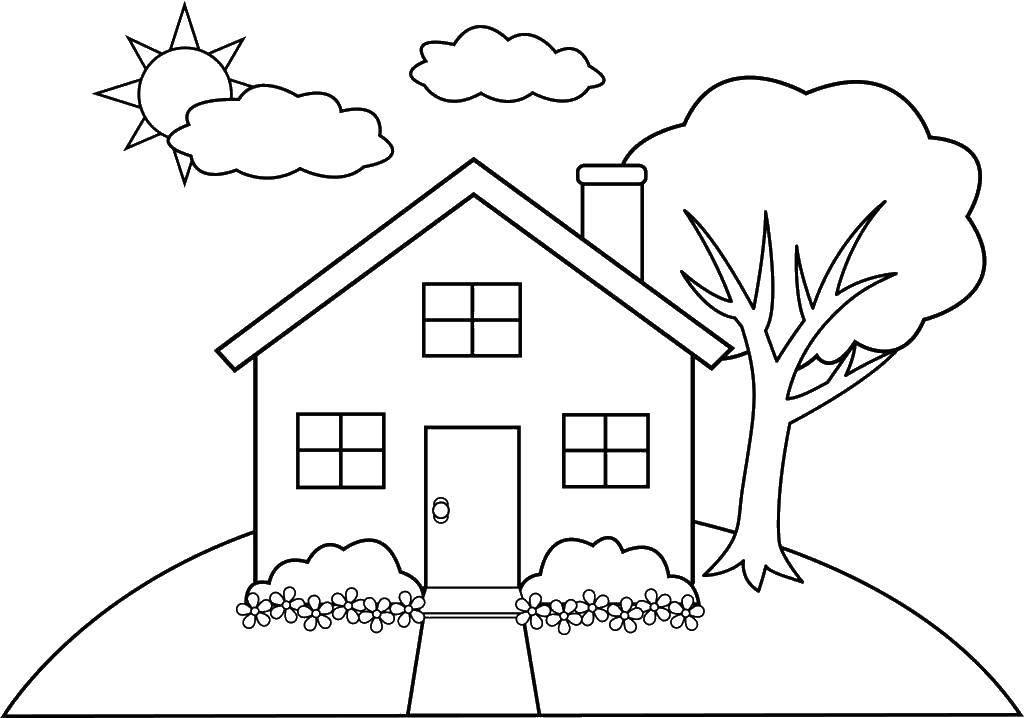 Раскраска Цветы и дом Скачать дом, цветы, дерево.  Распечатать ,Раскраски дом,