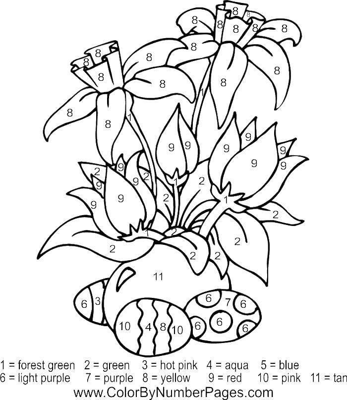 Раскраска Цветы и пасхальные яйца Скачать цветочки, яйца, Пасха.  Распечатать ,По номерам,