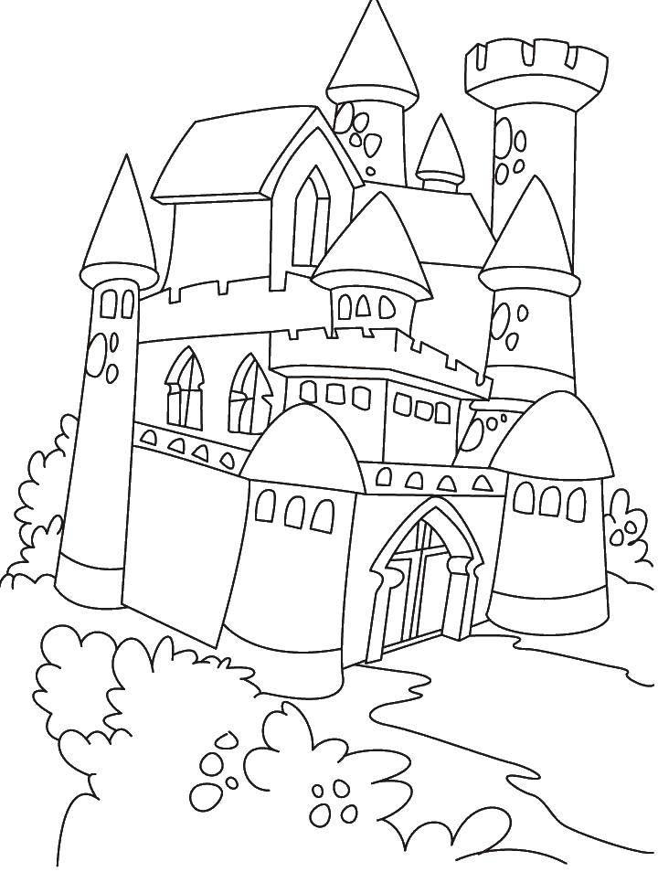 Раскраска Уютный замок Скачать Замок.  Распечатать ,Замки,