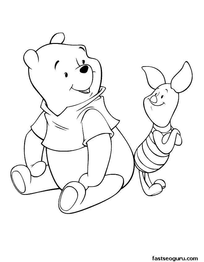 Раскраска Винни и пяточек Скачать винни пух, мишка, мультфильмы, пяточек.  Распечатать ,мультфильмы,