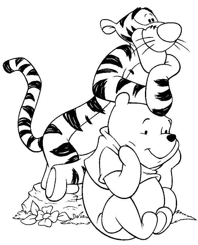 Раскраска Винни и тигра Скачать мультфильмы, тигра, винни, пух.  Распечатать ,мультфильмы,