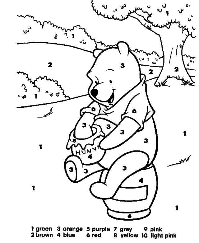 Раскраска Винни пух и банка с медом Скачать Винни, медведь, банка, мед.  Распечатать ,По номерам,