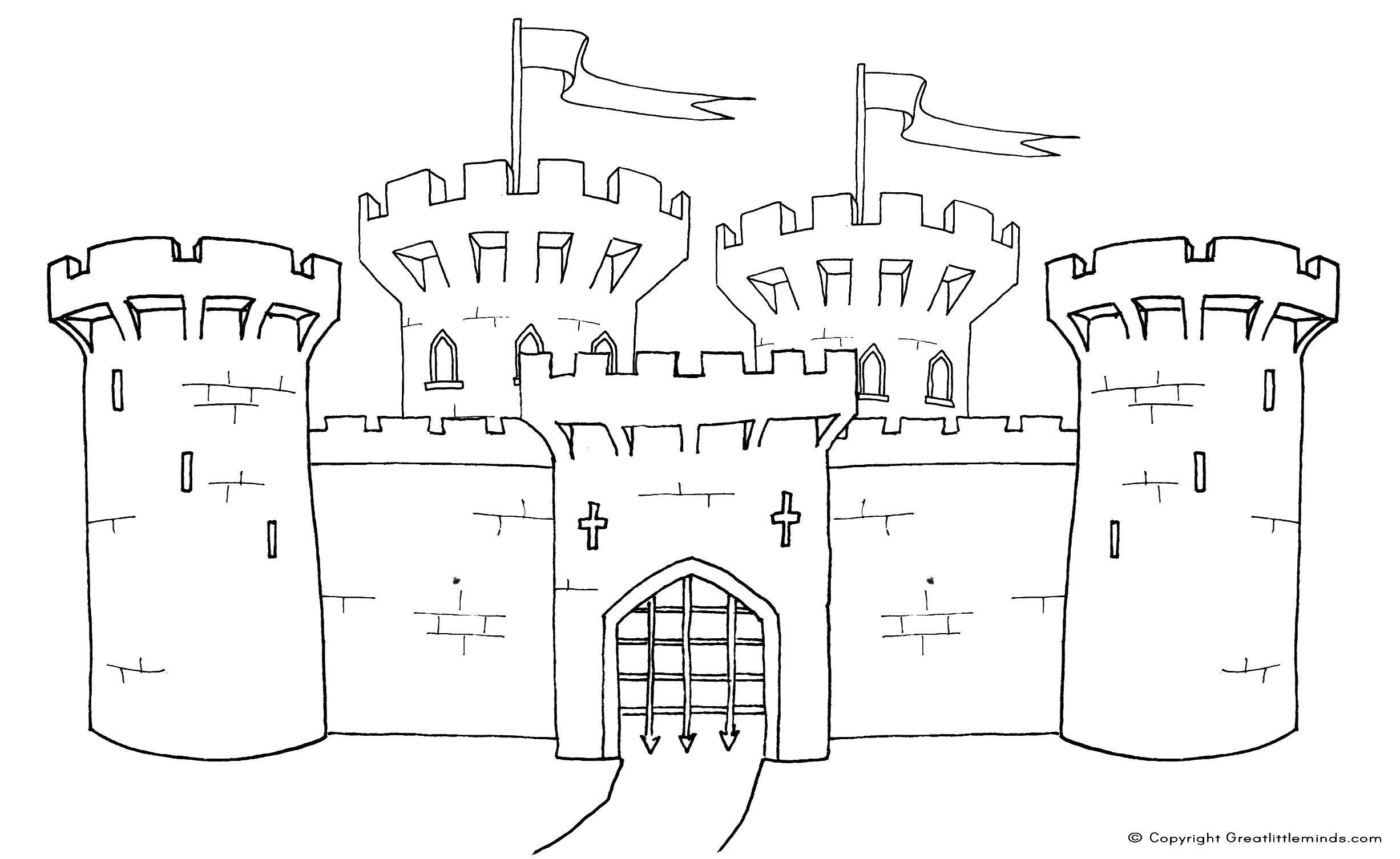 Раскраска Ворота замка Скачать ворота, замок, крест.  Распечатать ,Замки,