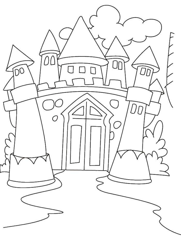 Раскраска Замок и ворота Скачать замок, ворота, башни.  Распечатать ,Замки,