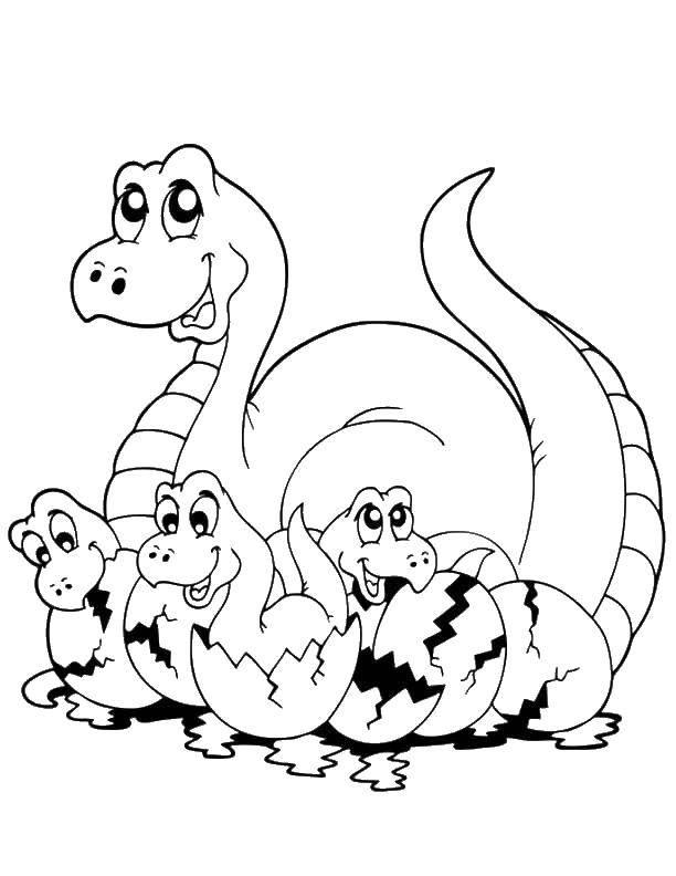 Название: Раскраска Динозавр и динозаврики со скорлупой. Категория: динозавр. Теги: динозавр, динозаврики, скорлупа.