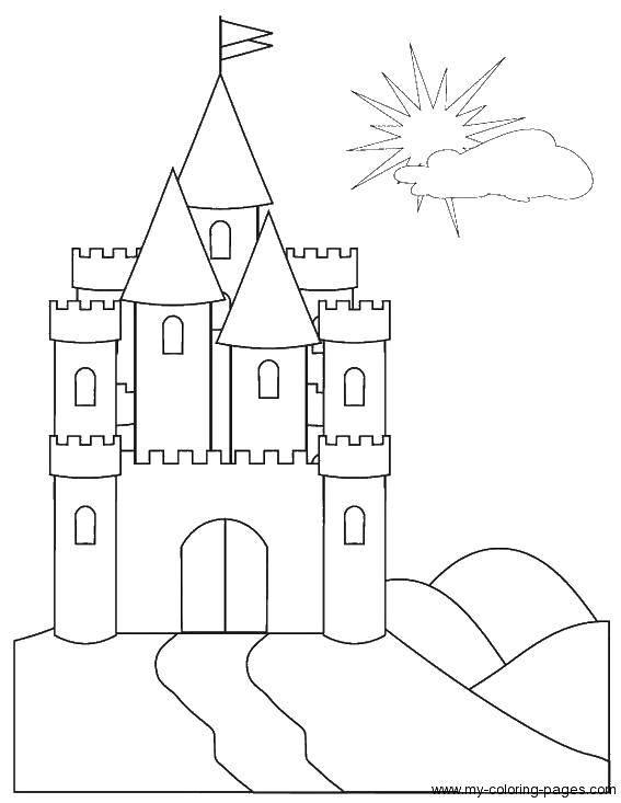 Раскраска замки Скачать ,замки, замок, башни,.  Распечатать