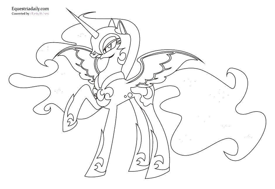 Название: Раскраска Крылатый единорог и мантия. Категория: мой маленький пони. Теги: единорог, мантия, крылья.
