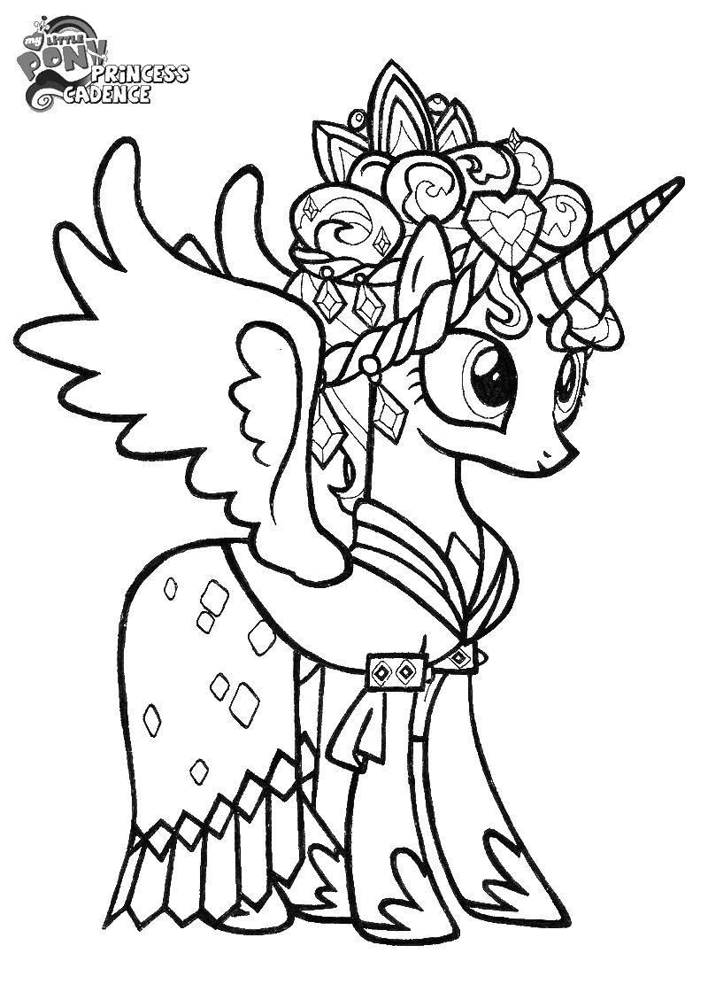 Название: Раскраска Крылатый единорог в короне и сережках. Категория: мой маленький пони. Теги: единорог, крылья, корона.