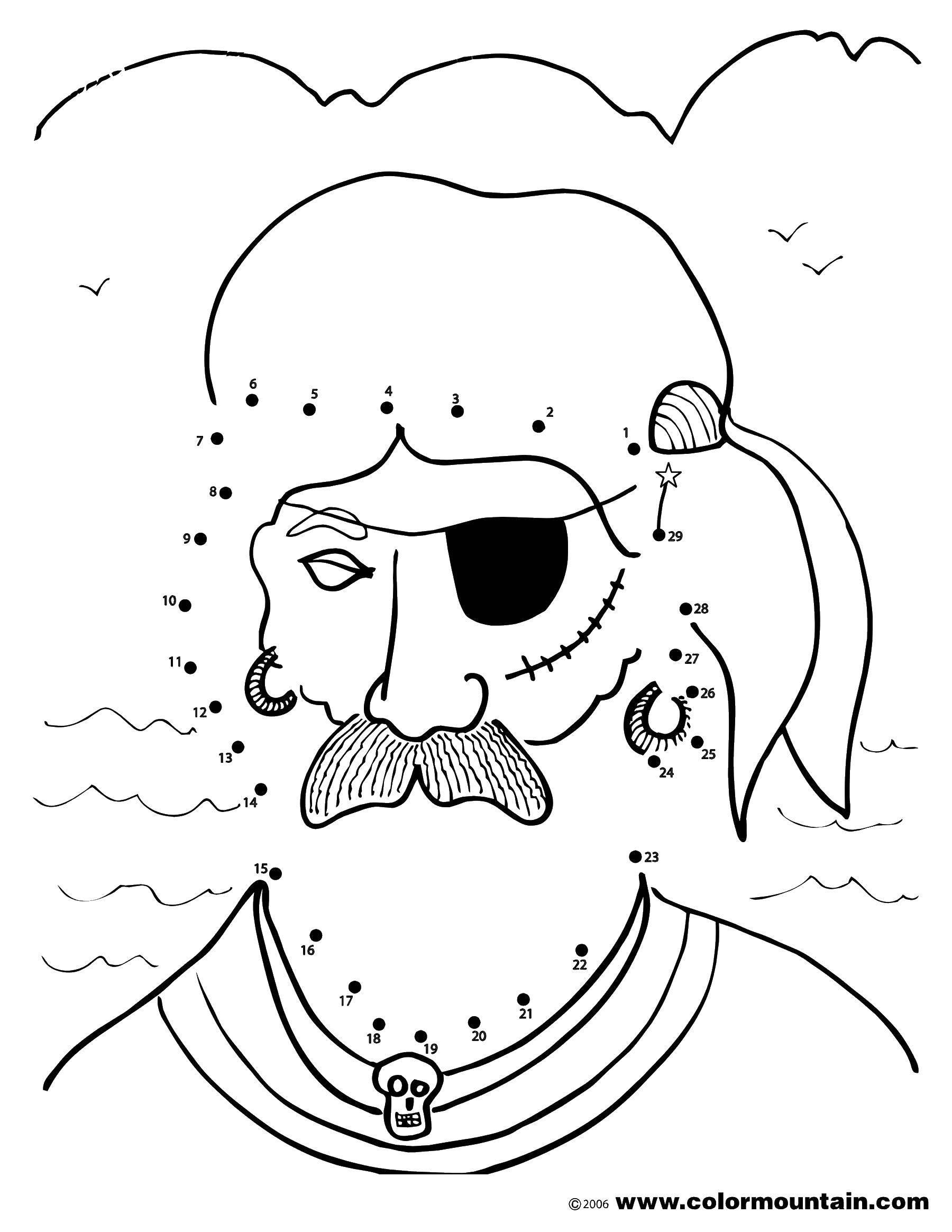 Название: Раскраска Пират с усами. Категория: Нарисуй по точкам. Теги: пират, усы, череп, серьги.