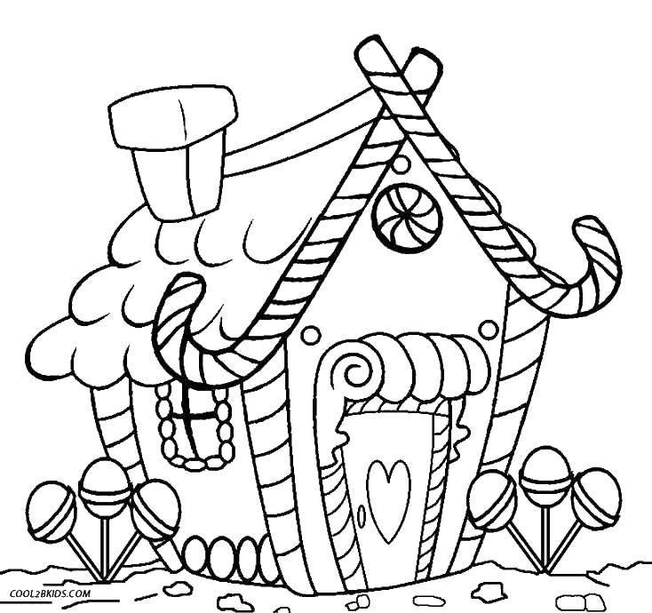 раскраски раскраска сладкий домик сладости скачать