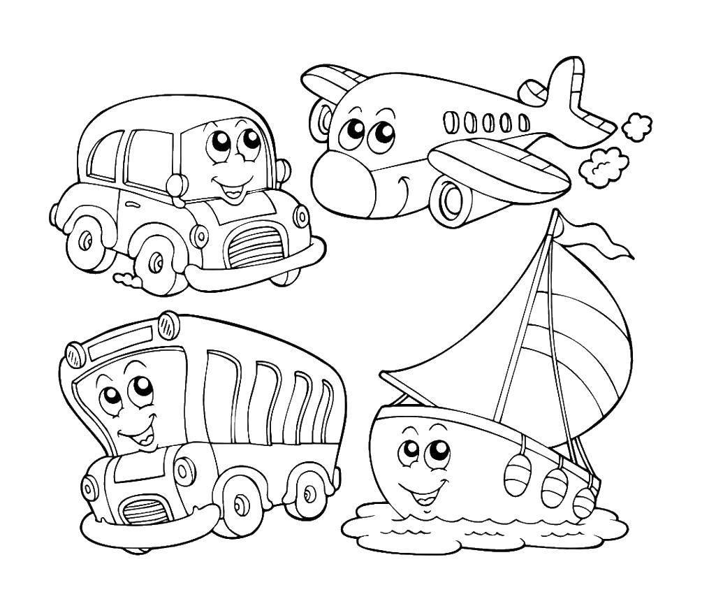 Раскраска Транспорт на английском Скачать ,машина, автобус, корабль, самолет,.  Распечатать