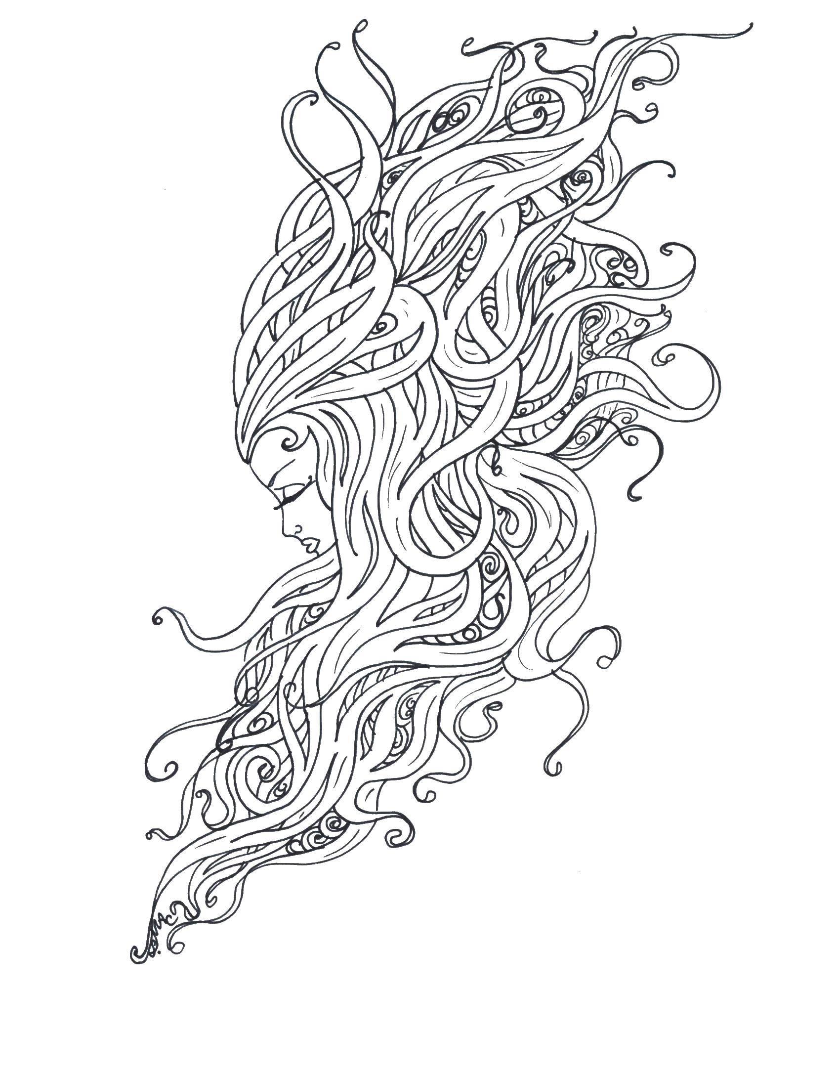 Раскраска Чудные волосы девушки Скачать Антистресс.  Распечатать ,Антистресс,