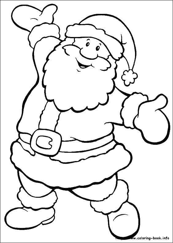 Раскраска Дед морозе с бородой Скачать дед мороз, борода, колпак, пояс.  Распечатать ,Рождество,