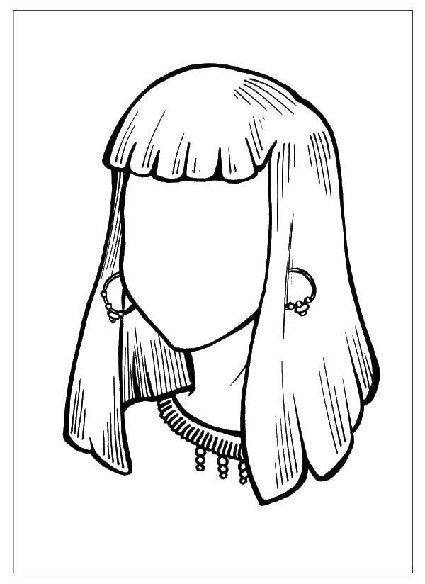 Раскраска Девушка с челкой. Скачать Лицо.  Распечатать ,лицо,