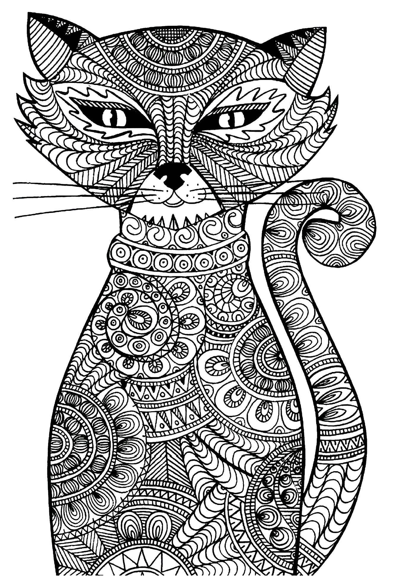 Раскраска Довольный кот в узорах Скачать Узоры, животные.  Распечатать ,узоры,
