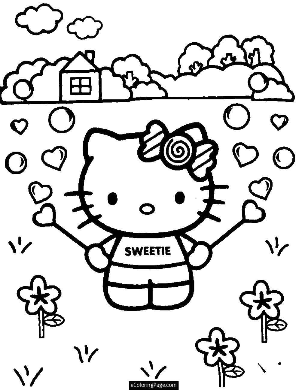 Раскраска Hello kitty и сердечки Скачать ,Hello Kitt, сердечки, пузыри, дом, деревья,.  Распечатать
