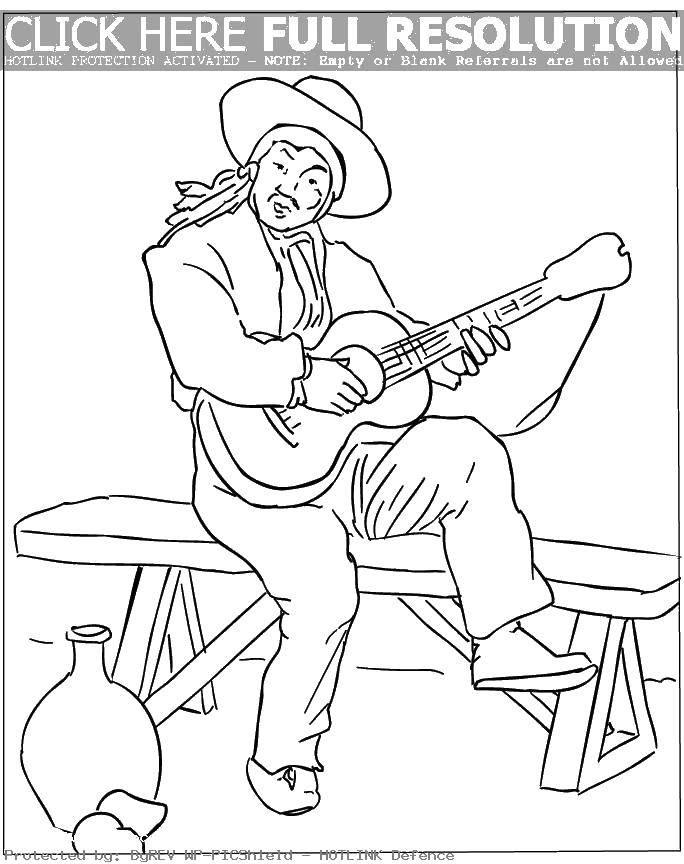 Раскраска Испанец с гитарой. Скачать Испанский язык, Испания.  Распечатать ,испанский язык,