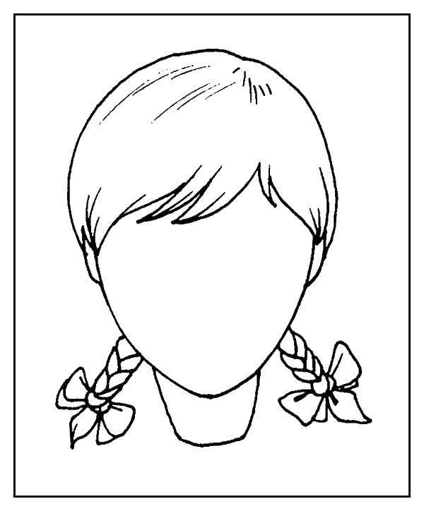 Раскраска Контур головы девочки Скачать ,контур, голова, косички,.  Распечатать