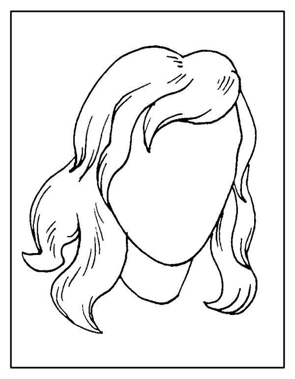 Раскраска Контур женской головы Скачать ,контур, голова, волосы,.  Распечатать