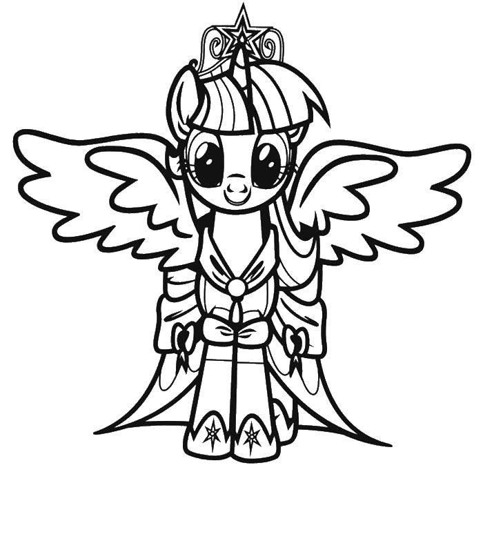Раскраска Крылатый пони. Скачать мой маленький пони, мультфильмы, пони, крылья.  Распечатать ,мой маленький пони,