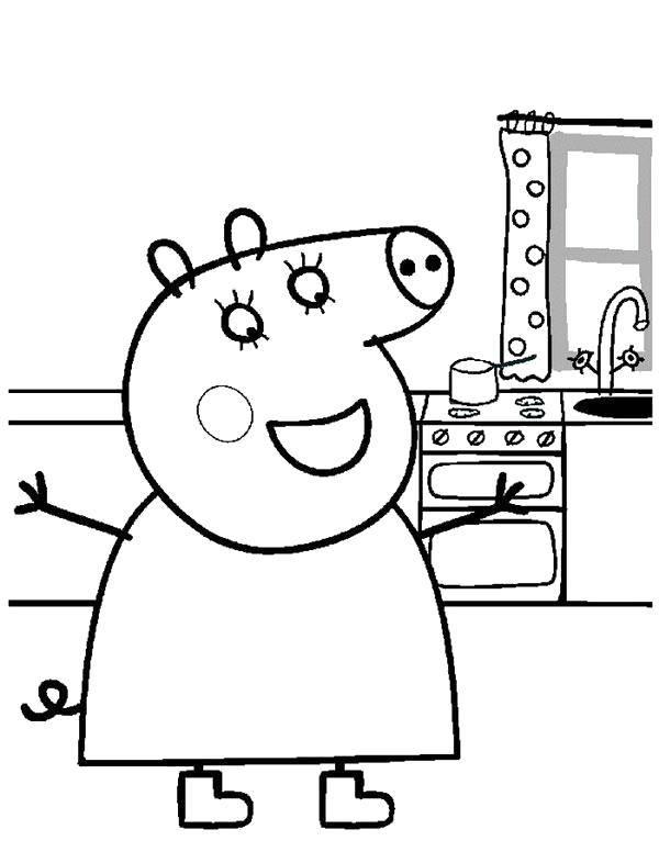 Раскраска Свинка Пеппа Скачать дети, супермены.  Распечатать ,дети,