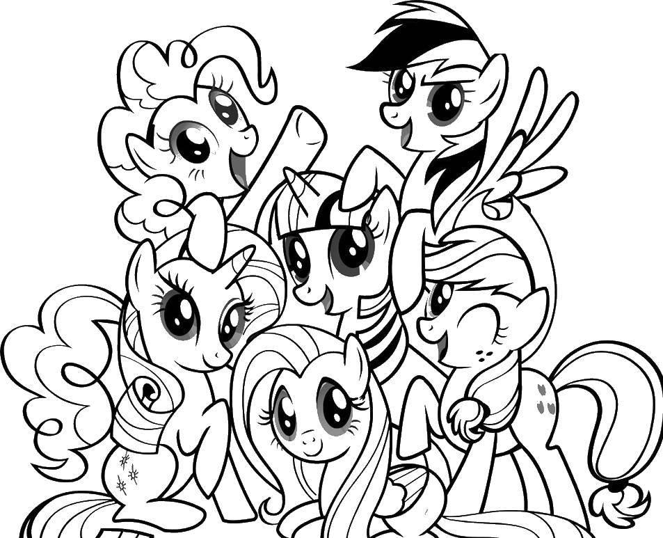 Раскраска Много пони. Скачать пони, сказка, для девочек.  Распечатать ,мой маленький пони,